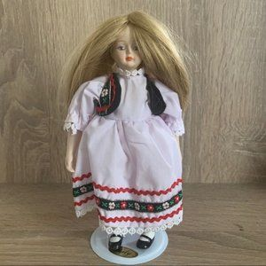 """Vintage porcelain doll Hand painted with dress 9"""""""